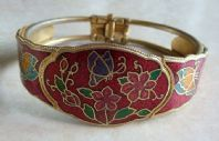Vintage Red Cloisonne Enamel Bangle